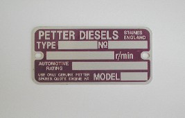 Engine Name Plates