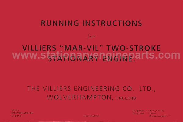 Running & Instructions Booklet For The Villiers MAR-VIL Two